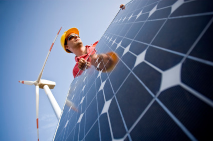 Image of a technician in between wind and solar technologies. In the background you can see Wind Turbines. Two different technologies to produce energy in a responsible and sustainable way (ISO 100) . All my images have been processed in 16 Bits and transfer down to 8 before uploading.  [url=http://www.istockphoto.com/file_search.php?action=file&lightboxID=7053550] [img]http://www.ll28.com/istock/solarpanel.jpg [/img][/url]